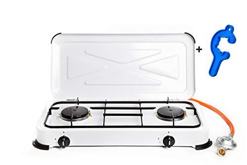 2 flammiger Propan Gaskocher mit Zündsicherung + emaillierte Brennerdeckel und Topfträger (Hockekocher, Kocher, Gastrokocher, Gasherd, Campingkocher)