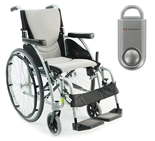 Karman S-Ergo 115 Ultra Lightweight Ergonomic Wheelchair, Quick Release Rear Wheel Axle, 18' Seat Width in Silver & Free 130 dB Silver Safety Alarm!