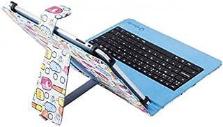 SilverHT - Funda Universal Estampada con Teclado Micro USB para Tableta de 9
