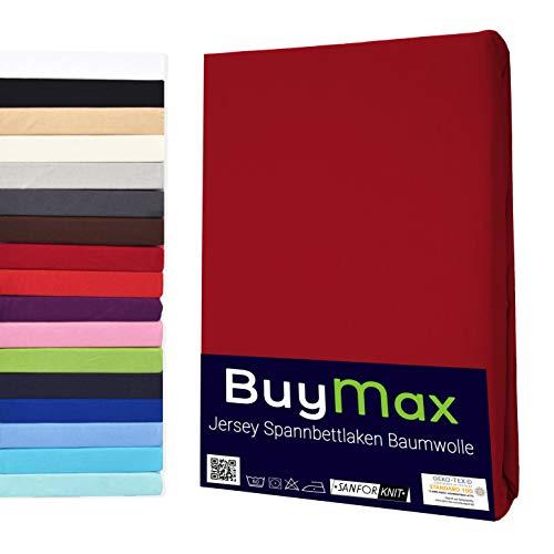 Buymax Spannbettlaken Stretch 180x200-200x220 cm für Wasserbetten und Boxspringbetten Bettbezug für Matratzen bis 40 cm Steghöhe, Bordeaux Rot