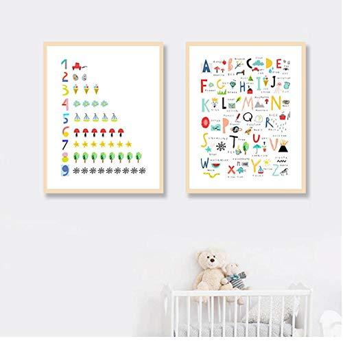 zsBig6 Leinwand Malerei Nordic Style Drucke Home Decor Baby Intelligenz Test Alphabet Wandkunst Bild Aquarell Einfaches Poster 40x60cmx2 ungerahmt