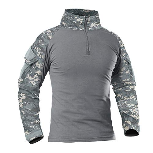 CRYSULLY 1/4 Zip Pullover Tactical Shirts for Men Long Sleeve Military Shirt Outdoor ACU Hiking Shirt with Zipper