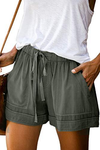 KISSMODA Women's Casual Shorts Solid Color Elastic Waist Drawstring Pockets Short Lounge Pants