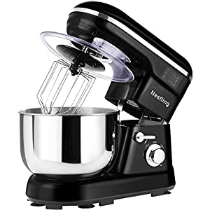 Nestling 5L Stand Mixer 1200W with Mixing Bowl, 5 Speed Tilt-Head Kitchen Electric Mixer, Dough Hook, Whisk, Beater for Wheaten Food, Salad, Cake (Black)