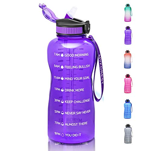 MYFOREST Half Gallon Tritan Water Bottle with Straw BPA Free, 74oz Daily Water Intake Bottle with Time Marker Leakproof, 2.2L BPA Free Water Jug Ensure You Drink Enough Water Daily
