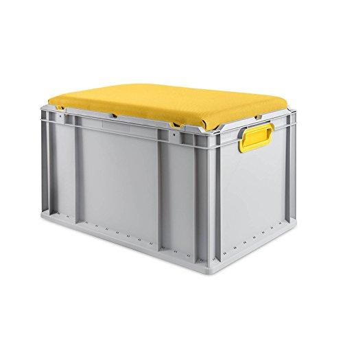 aidB Eurobox NextGen Seat Box, gelb, (600x400x365 mm), Griffe geschlossen, Sitzbox mit Stauraum und abnehmbarem Kissen, 1St.