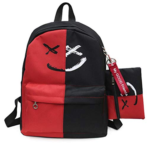 VHVCX Luxus 2 PC/Satz Frauen Rucksäcke Lächeln Druck Adrette Art Schulranzen für Teenager Composite-Rucksack-Sets, B