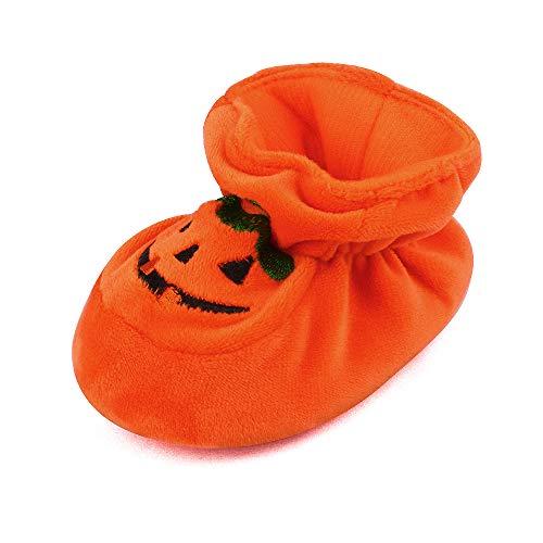 Newborn Baby Boys' Girls' Halloween Pumpkin Bootie Soft Soles Infant Crib Shoes, 3-6 Months Orange
