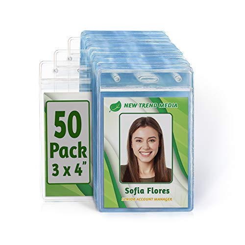 EcoEarth Vertical ID Badge Holder (Premium Tier Sealable, 3x4 Inch (L), 50 Pack), ID Holder, ID Card Holder Bulk, Name Badge Holder, Name Tag Holder, Plastic Badge Holder, Clear Card Badge Protector