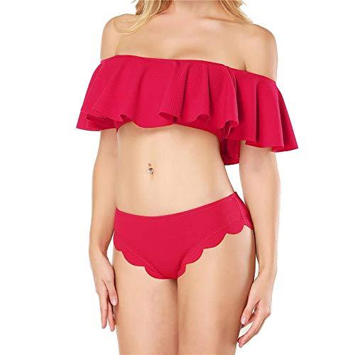 Bikinis Bañador Mujer Conjunto De Bikini De Dos Piezas con Hombros Descubiertos para Mujer, Traje De Baño De Color Sólido con Volantes, Traje De Baño De Playa para Mujer, Biquinis L Rojo