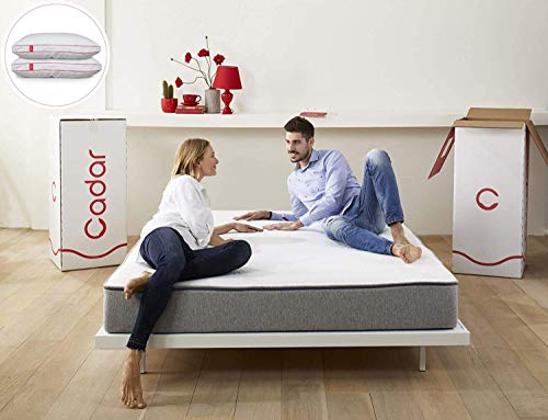 Cadar The Mattress EU Size 80 x 200 x 20 cm | Free Pillows | High-Density Hybrid Graphite Memory Foam Mattress | Easy To Wash & Hypoallergenic Cover | Balanced Support and Cooler Sensation