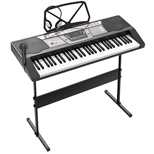 LAGRIMA 61 Key Portable Electric Piano Keyboard,W/Adjustable H Stand, LED Screen, Microphone, Music Stand, Power Supply, Suit for Kids Teen Adult Beginner