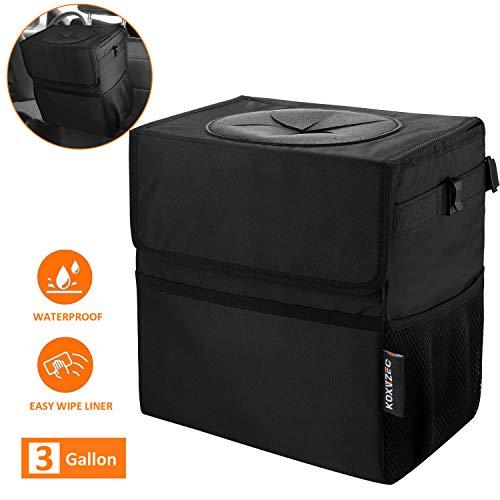 Cart Trash Can Koxvzec Large Capacity Garbage Bag with Lid and Storage Pockets Leak-Proof Vinyl Multipurpose Truck Organizer (1pack)