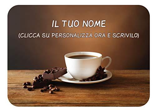 TOVAGLIETTA Americana SEGNAPOSTO Personalizzabile con Il Nome in Microfibra per LA Famiglia BUONGIORNO Caffe'