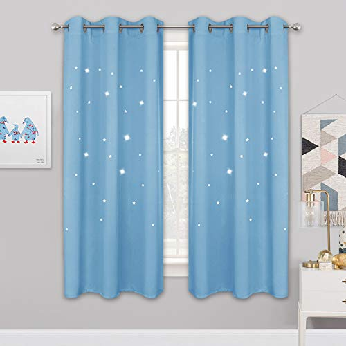 NICETOWN Star Patterned Blackout Curtains - Baby Blue Starry Night Curtains for Kids Room, Nursery Essential Blackout Thick and Soft Window Coverings with Star Die-Out, 42 x 63 inches, 2 Panels