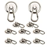Ant Mag - Carabiner Magnetic hooks, 80LBS Heavy Duty Neodymium Magnet carabiner with Swivel Carabiner Snap Hookfor Indoor/Outdoor Hanging bagnet Grill kitchen Purse Factory warehouse office. (10 Pack)