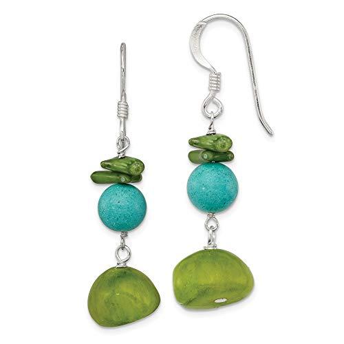 Plata de ley y verde Jade pendientes de Howlita teñida Coral - JewelryWeb