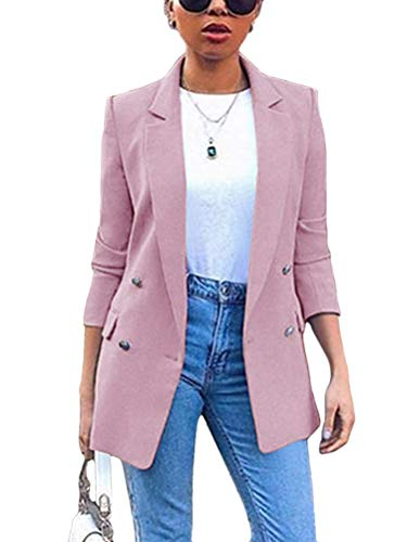 ORANDESIGNE Blazer Mujer Chaqueta de Traje Slim Fit Elegante Casual Oficina Negocios Outwear Solapa Manga Larga Chaqueta de Traje para Mujer A Rosa S