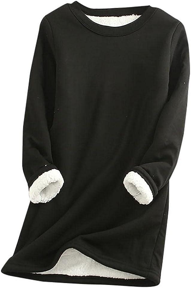 Lulupi Women's Plush Sweater Fleece Lined Sweatshirts Winter Warm Top Solid Color Printed Long Sleeve Pullover Tops Teen Girls Crew Neck Soft Loungewear