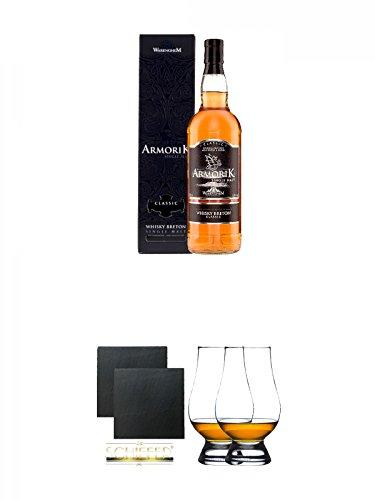 Armorik Classic Single Malt de Bretagne 0,7 Liter + Schiefer Glasuntersetzer eckig ca. 9,5 cm Ø 2 Stück + The Glencairn Glass Whisky Glas Stölzle 2 Stück
