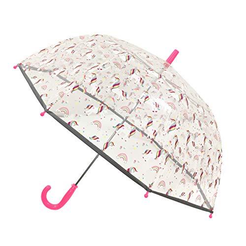 SMATI Regenschirm Kinder transparent Stockschirm Glockenform - Der erste Fluoreszierende Regenschirm für die Sicherheit Ihres Kindes (Einhorn)