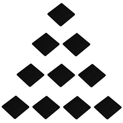 Creatwls - Tiradores para puerta de armario, 10 piezas, simples, cuadrados, de aleación de aluminio, Aluminio espacial, negro, Hole Distance 32mm