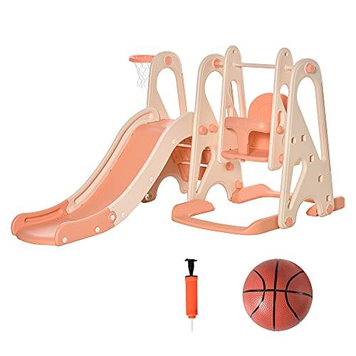 HOMCOM 3 in 1 Spielturm mit Kinder Rutsche Basketballkorb Schaukel Leiter Spielzeug Gartenrutsche Babyrutsch für 18 Monate-5 Jahre für drinnen und draußen sicher PE Rosa+Beige 158 x 117 x 97 cm