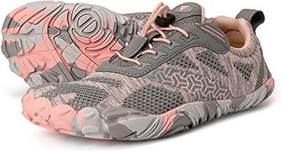 Joomra Minimalist Trail Running Tennis Shoes Walking Size 9-9.5 Women Wide Camping Athletic Hiking Trekking Toes Gym Workout Sneakers Lightweight Footwear Grey Pink 40