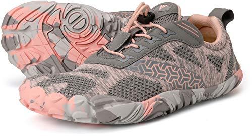 JOOMRA Minimalist Trail Running Tennis Shoes Walking Size 9.5 Women Wide Camping Athletic Hiking Trekking Toes Gym Workout Sneakers Lightweight Footwear Grey Pink