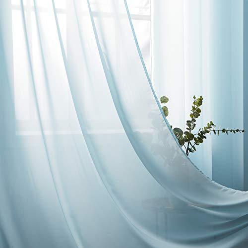 Topfinel Voil Vorhänge aus Chiffon mit Ösen Halbtransparente Dekoschal für Wohnzimmer Schlafzimmer 2er Set je 245x140cm (HxB) Hellblau