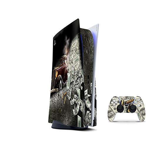PS5 Skin for Console and 2 Controllers by ZOOMHITSKINS, Same Decal Quality for Cars, Gangsters Mafia Money Cash Speed, High Quality, Durable, Bubble-free, Compatible with PS5 W/Disk, Made in USA