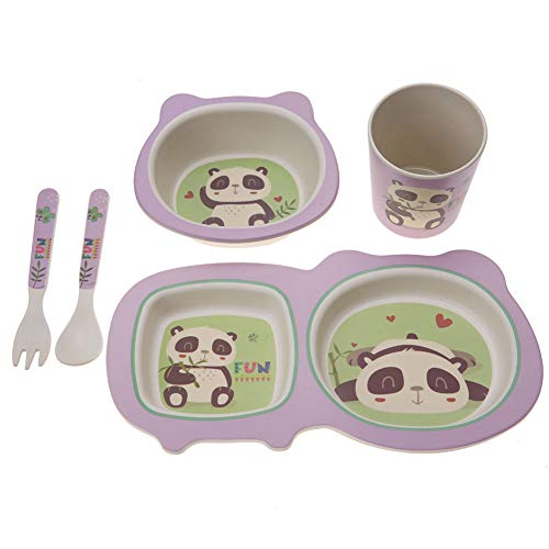 5 Unids Niños Juego de Vajilla Diseño de Dibujos Animados Para Niños Suministros de Alimentación Fibra de Bambú Natural Bebé Placa de Cena Tazón Tenedor Cuchara Taza(Panda)