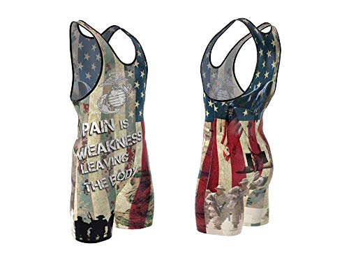 4 Time Sublimated Wrestling Singlet for Men and Youth, Powerlifting, MMA Wrestling Ring Gear/Apparel, Black, Navy Blue, Red (Sizes: 3XS-3XL) (XXS/YL 51-70 lbs, US Marines)