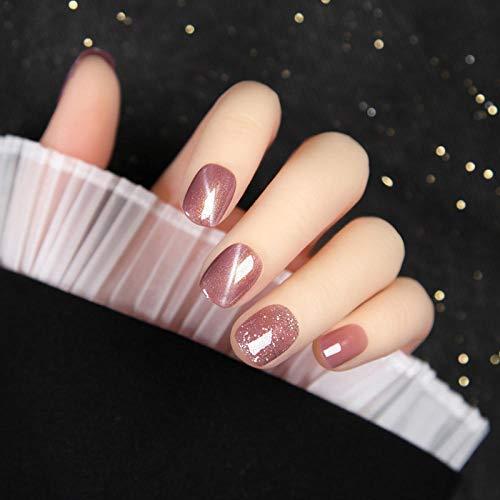 CSCH Unghie finte 24 pezzi/scatola di terapia della luce unghia artificiale piccolo libro rosso unghia artificiale indossabile con effetto aurora morbido