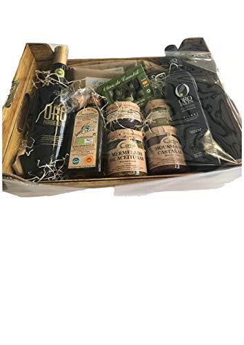 Cesta Regalo Gourmet King Size - El mejor Aceite de Oliva Virgen Extra, Chocolates, Mousse, Paté artesanal, Mermeladas y Cata horizontal Premium