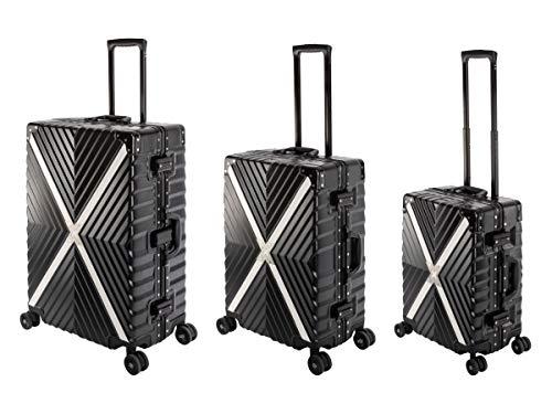 Travelhouse Miami T6055 - Trolley da viaggio in alluminio e policarbonato, diverse misure e colori, Ossidiana nera (Nero) - Miami X Cross T6055