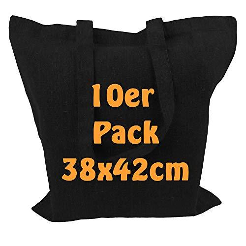 Cottonbagjoe Recyclingtasche aus recycelter Baumwolle Öko - Einkaufstasche robust mit dickem Stoff und Langen Henkeln (Schwarz, 10 Stück)