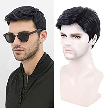 Creamily Men's Black Synthetic Short Wigs Layered Full Replacement Hair Daily Wear Party Male Wigs with Cap Mens Wigs