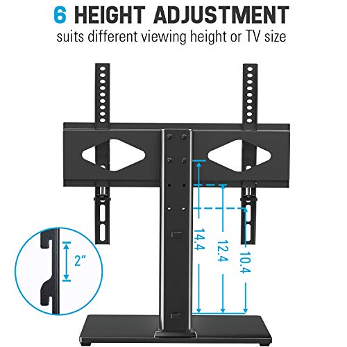 Universal TV Stand - Table Top TV Stand with Mount for 37-55 Inch Flat Screen TVs, Height Adjustable TV Mount Stand with Tempered Glass Base, TV Base Stand Holds up to 88 lbs, Max VESA 400x400mm