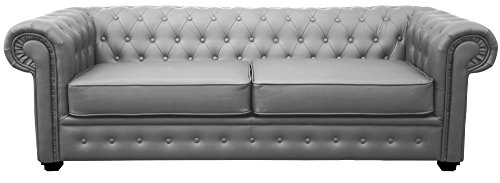 Chesterfield Style Venus Sofa 3 Seater 2 Seater Armchair Grey Faux Leather (3 Seater)