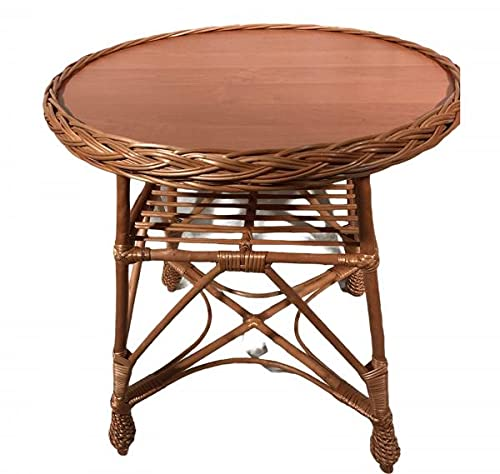 HH Weiden - Mesa auxiliar para jardín, de ratán, redonda, mesa de café, mesa de té, mesa de ratán