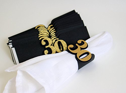 All About Details Black & Gold 30 Napkin Holders, Set of 12, 7 x 2