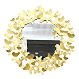 genral Wall Mirror Gold Butterfly Metal Frame Round Wall Mirror for Entryways, Bedroom,Washrooms, Living Rooms