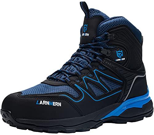 LARNMERN PLUS Botas de Seguridad Hombre S1P Zapatos de Seguridad Respirable Ligero Comodo Antideslizante Antiestático Calzado de Seguridad Trabajo Zapatillas Seguridad(Negro Azul,43EU)