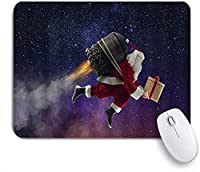 ECOMAOMI 可愛いマウスパッド ユーモラスなクリスマス星空サンタキャリングロケットギフトを送る 滑り止めゴムバッキングマウスパッドノートブックコンピュータマウスマット