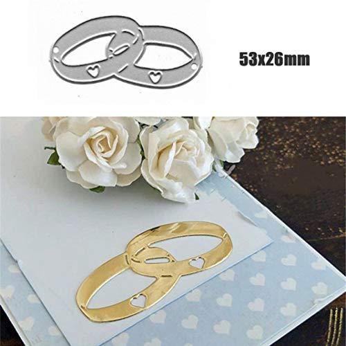 P12cheng Troqueles de corte de metal, anillo de boda troquelado plantilla DIY Scrapbooking Craft en relieve boda invitación Pascua tarjeta decoración