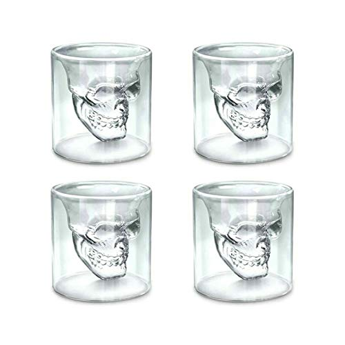 GuDoQi 8.5OZ Skull Glass Cup Double Wall Crystal Skull Shot Glasses Cocktail Mug Beer Wine Glasses Set of 4