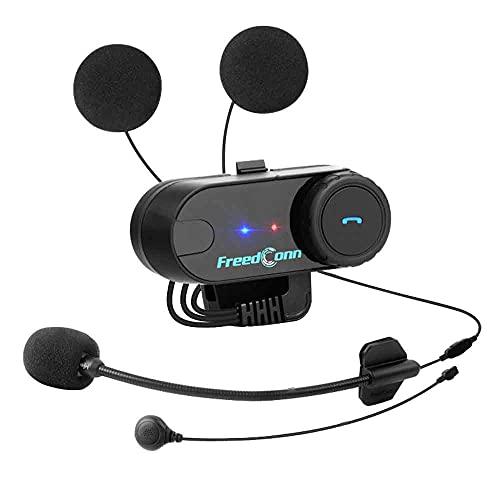 FreedConn Casco de la Motocicleta intercomunicador Bluetooth,Auricular Bluetooth de la Motocicleta walkie-Talkie, Motocicleta Auricular Bluetooth 800M, Esquiar Mejor Llamada(1 Pieza Cable Duro)