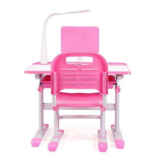 Wangkangyi Escritorio infantil de altura regulable, con lámpara LED, mesa para niños, con silla ergonómica para niños, color rosa