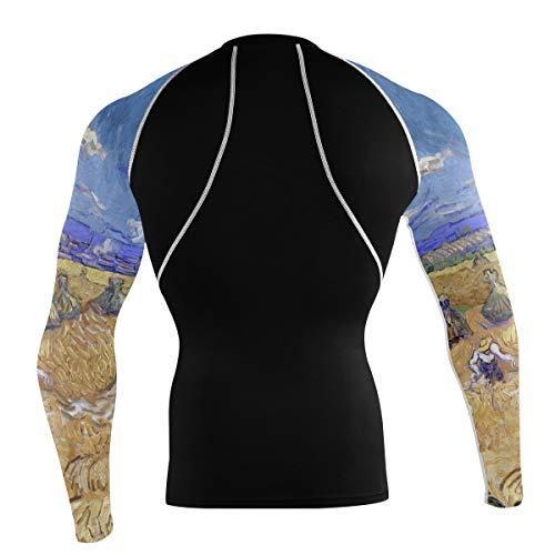 Fantazio Van Gogh Blé Fields T-shirt à manches longues pour vélo de montagne et vélo de route - - XXL